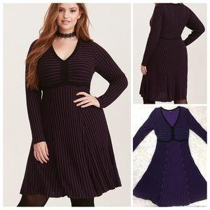 Torrid Black & Purple Sweater Knit Skater Dress 0
